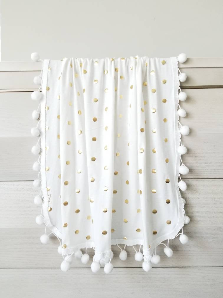 Baby blanket, pom pom blankets, Gold Polka dot cotton Knit, baby swaddle, baby girl, white blanket, vanaguelite