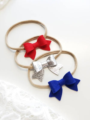 Baby bows, Handmade Mini Bows, set of 3, Baby headbands, nylon fits all, bright red, royal blue, silver, Patriotic set