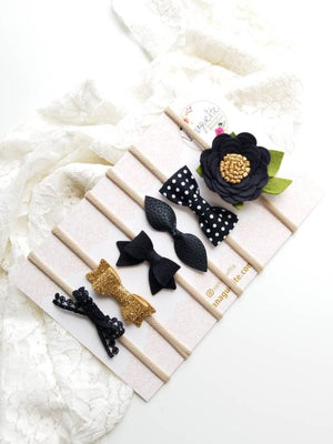 Baby headbands, The Perfect Neutrals in Black, black headbands, baby bow, headband set, infant headband, baby girl, Leather Bow.