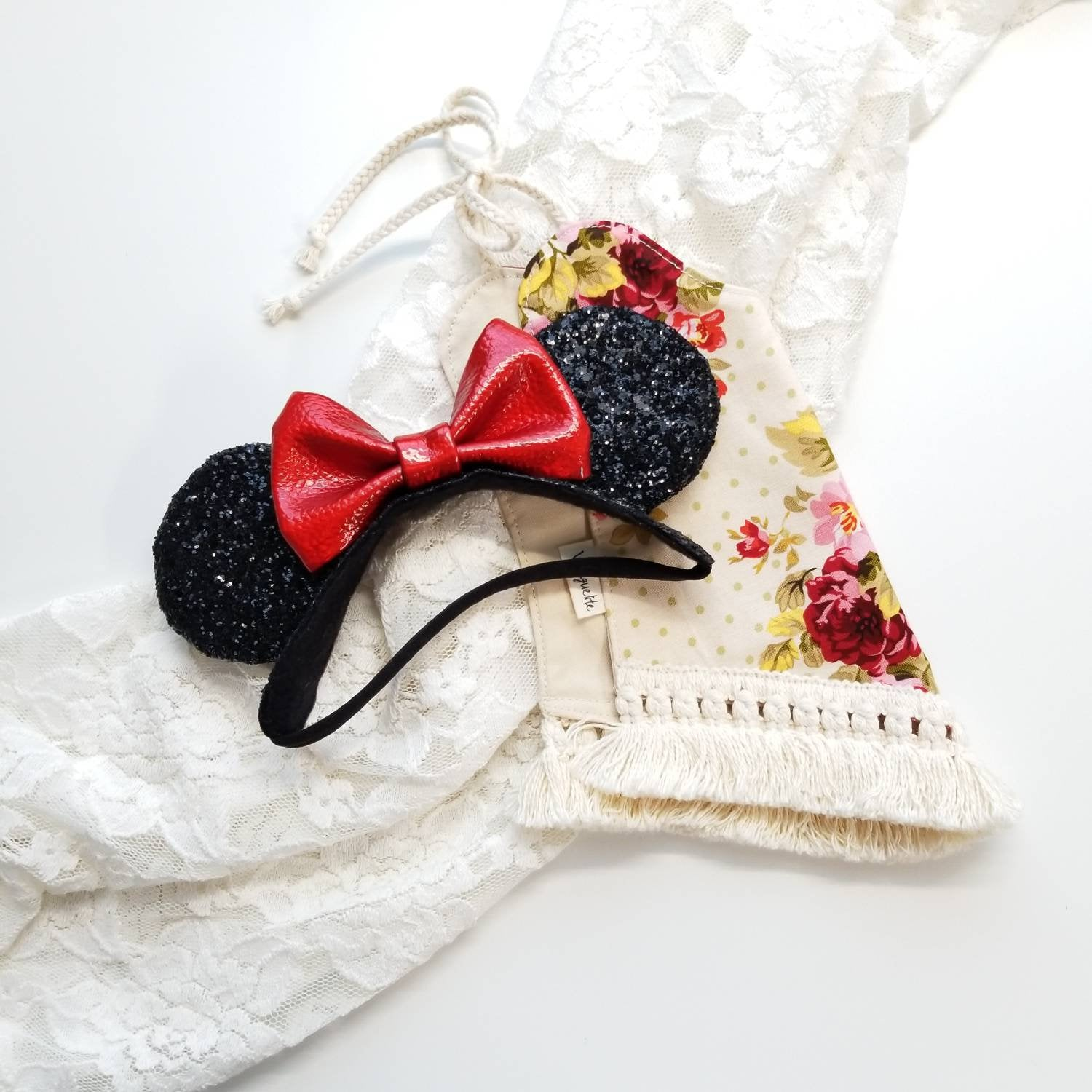 Mouse Ears Crown, classic mouse ears, Soft Base, baby headbands, black and red ears, sparkly faux leather