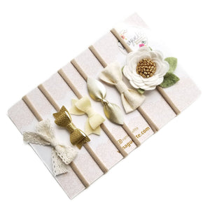 The Perfect Neutrals, Baby nylon headbands, Baby bows, floral headband, Ivory, antique gold, cream bow, neutral colors.