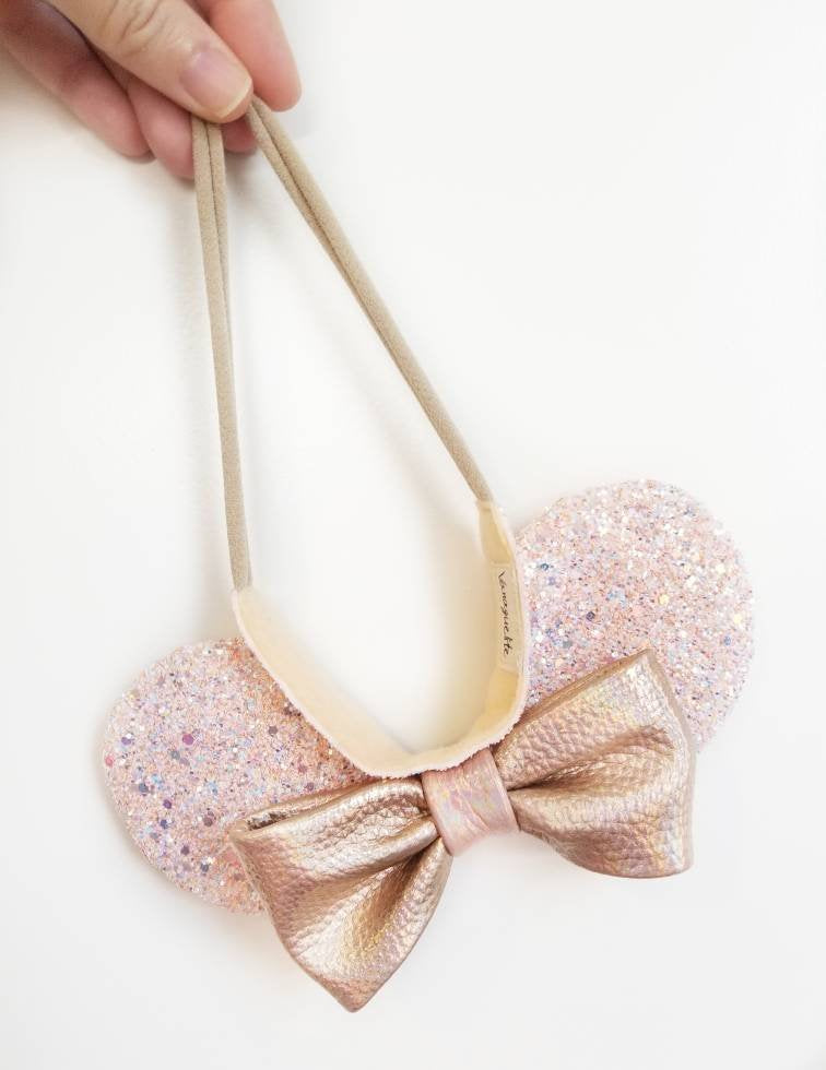 Mouse Ears Crown, rose gold ears, mouse Ears, Soft Base, baby headbands, rose gold, blush, sparkly faux leather