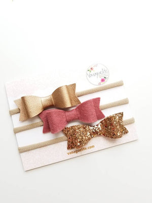 Baby headbands, Baby bows, Big bows 3 inches, rose - gold, English rose set, vanaguelite