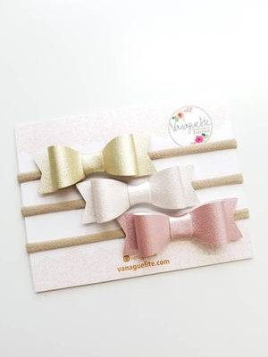Baby headbands, Baby bows, Big bows 3 inches, dainty faux leather pearly set, vanaguelite