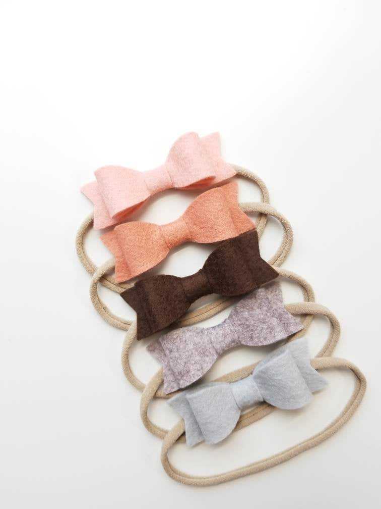 Baby bows, nylon headbands, alligator clips, Big bows blush palette set of 5 bows (3in), baby headbands, baby girl, vanaguelite