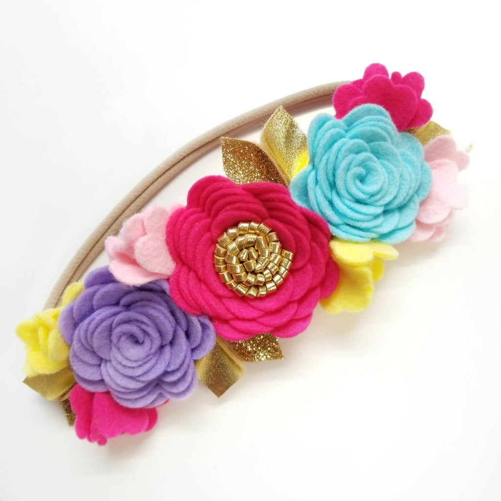 Flower Crown, Floral Headband, Rainbow felt flowers, hair accessories, baby headband, first birthday, vanaguelite.