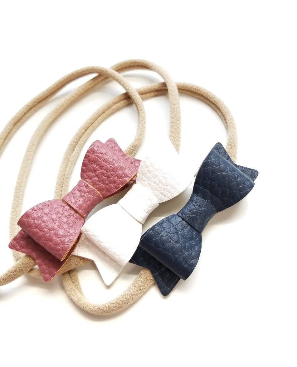 Baby bows, Leather Mini Bows, set of 3 Handmade, Baby headbands, nylon headband, leather headband, mauve pink, white, navy
