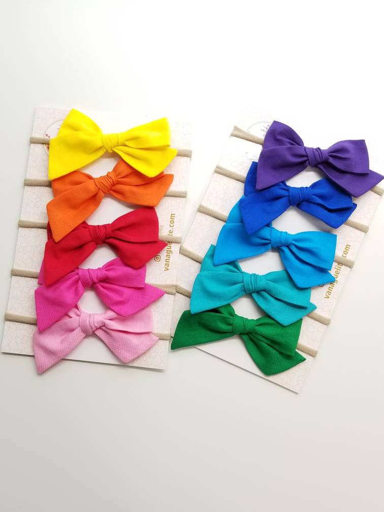 Baby Bows, nylon headbands, Rainbow baby girl headbands, hair accessories, baby headbands or hair clips, Hot colors, 4 inches Vanaguelite