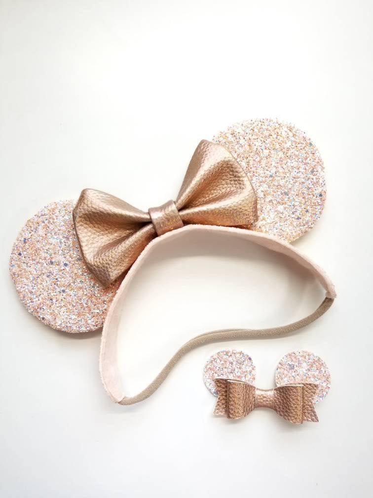 Baby headbands, mouse ears, rose gold ears, rose gold leather bow, alligator clip or nylon headband, baby bows, mini ears for babies