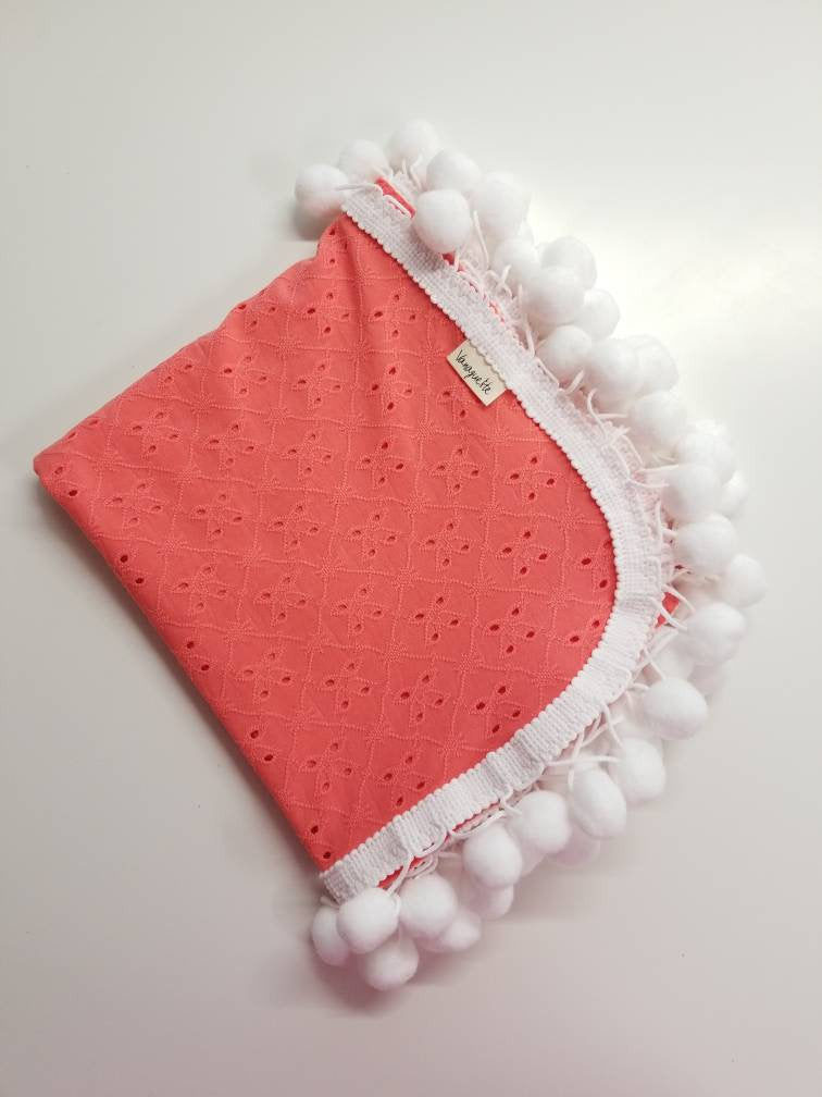 Baby blanket, pom pom blankets, Coral Knit, baby swaddle, baby girl, vanaguelite