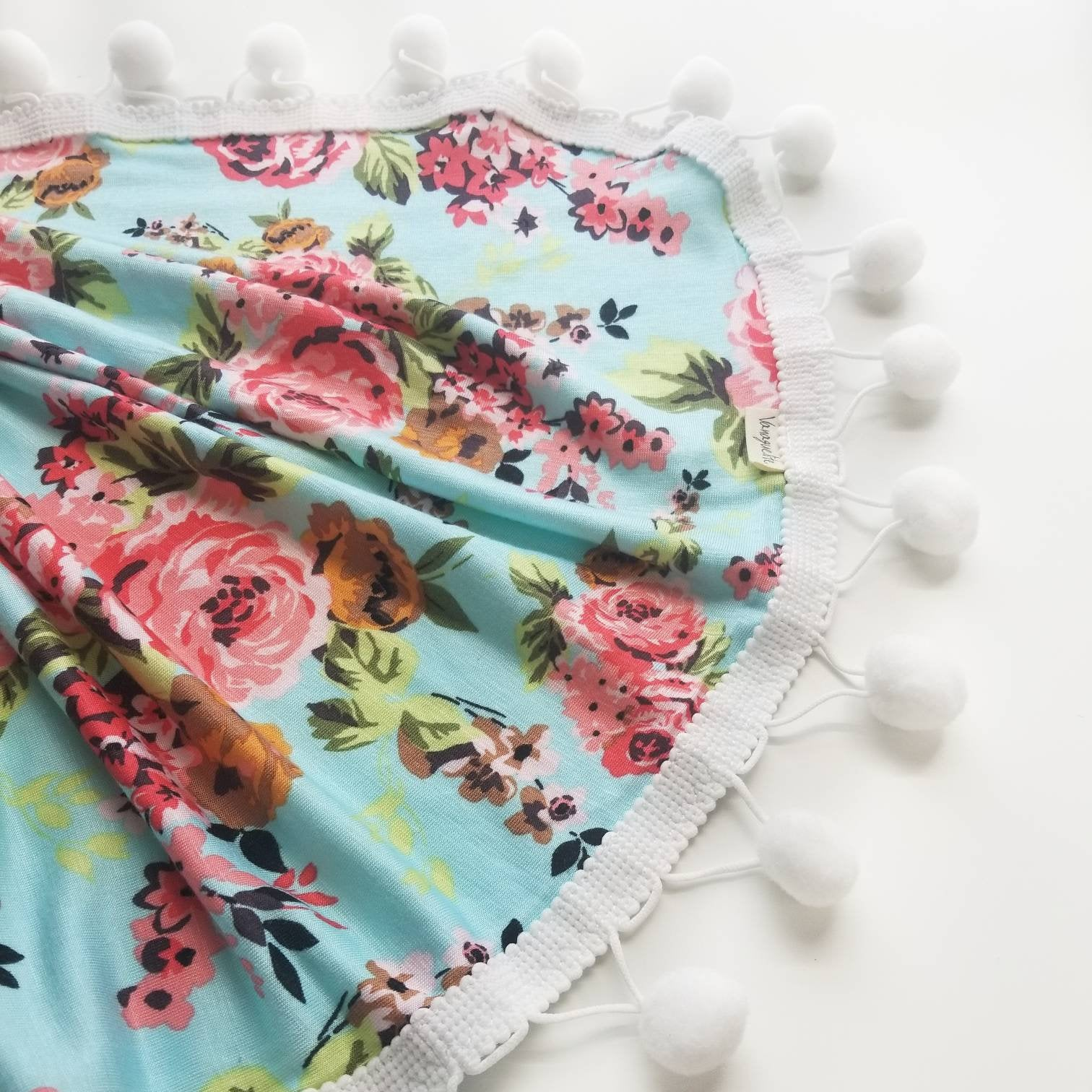 Baby Pom pom Blanket, floral Cotton Knit, baby swaddle, baby girl, baby blankets