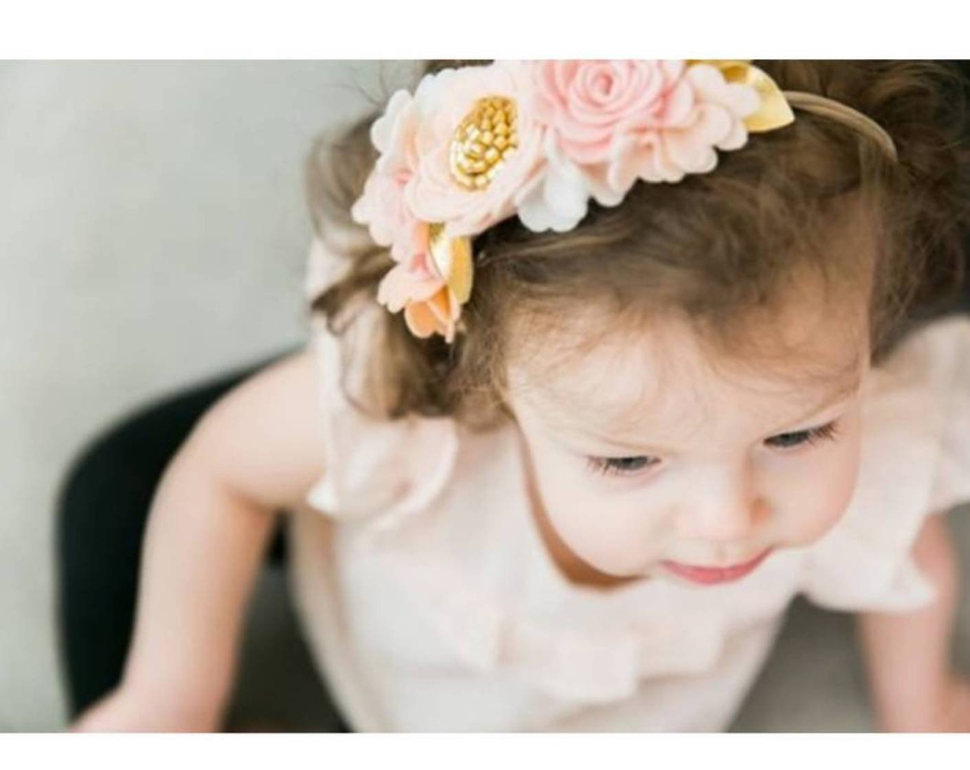 Blush, Flower Crown, Floral Headband, felt flower, hair accessories, baby headband, vanaguelite, baby accessories.