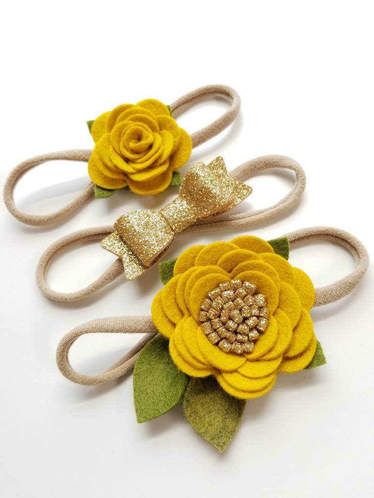 Baby headbands, Mustard and gold, Mini Flowers and Bow, Floral headband, vanaguelite, baby bows