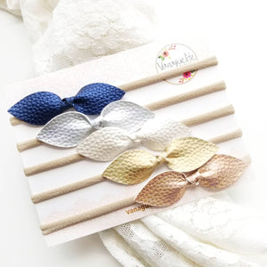 Baby Bows, Iridescent Metallic Shades, soft faux leather bows, nylon fits all baby headbands