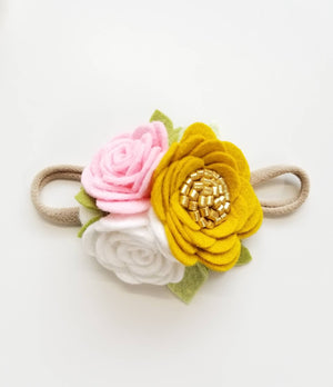 Dainty Floral Headband, mini rosettes, mustard, baby pink, white, felt flowers, newborn hair accessories, baby headbands