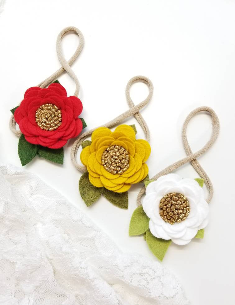 Baby floral headbands, Mini Rosettes set of 3, Vanaguelite, red flower, white flower, mustard flower, gold sparkly