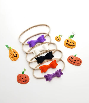 Handmade Baby Bows Nylon Headbands or clips, Not so Spooky Halloween Color Palette