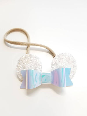 Baby headbands, mouse ears, iridescent white ears, iridescent leather bow, alligator clip or nylon headband, baby bows, mini ears for babies
