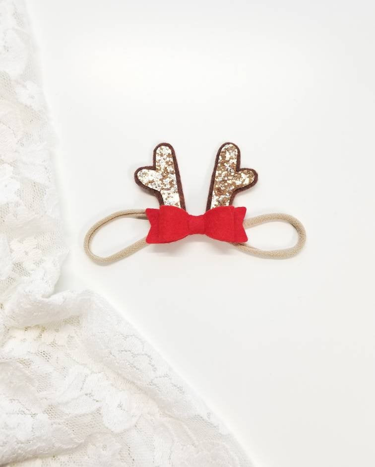 Mini Reindeer Antlers, Christmas baby bow, alligator clip or nylon headband, Bright red or Custom colors, vanaguelite
