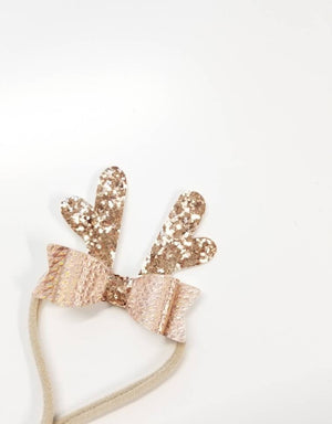 Mini Reindeer Antlers, Christmas baby bow, Rose Gold Bow, alligator clip or nylon headband, vanaguelite