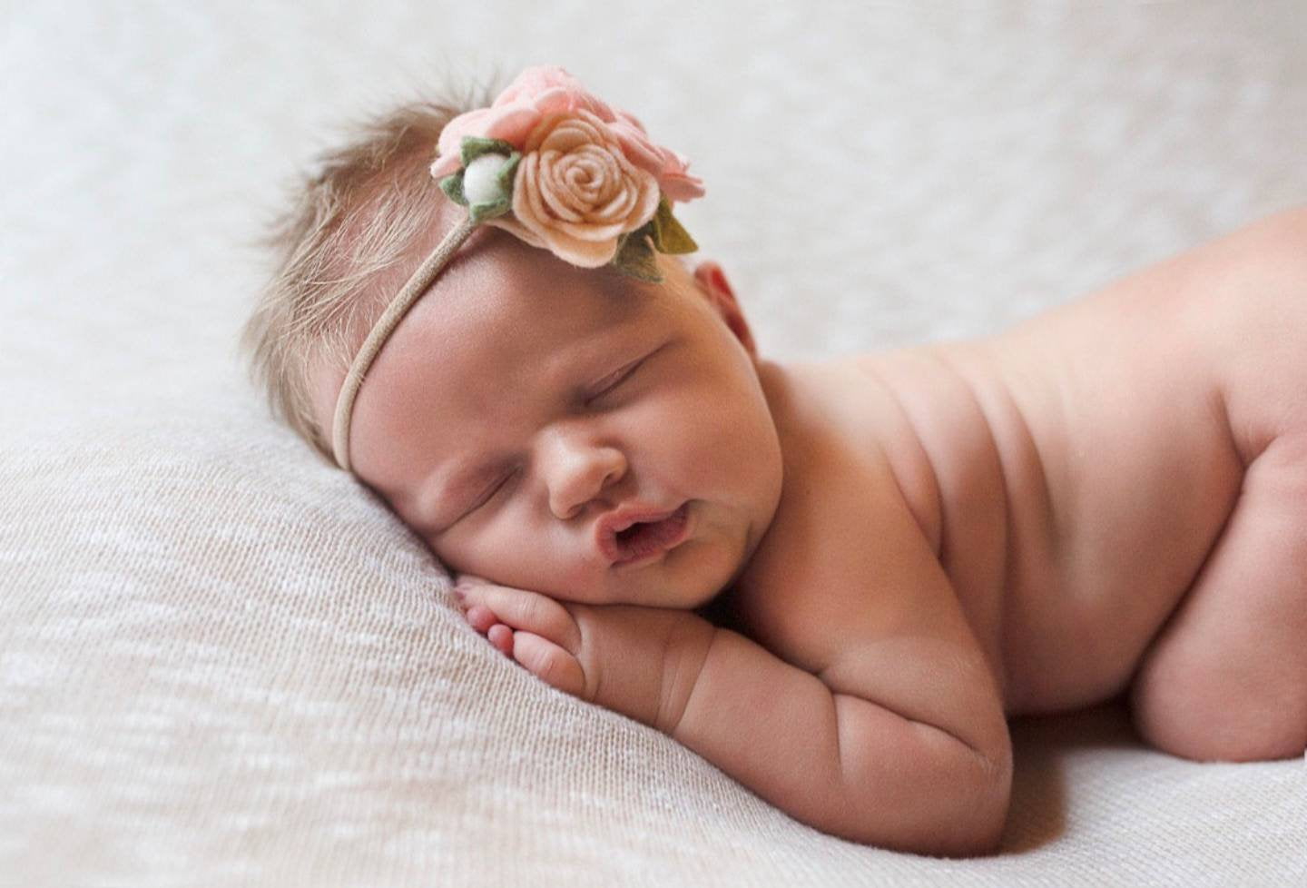 Dainty Floral Headband, mini rosettes, blush, pale pink, felt flower, newborn hair accessories, mini, baby headbands, vanaguelite