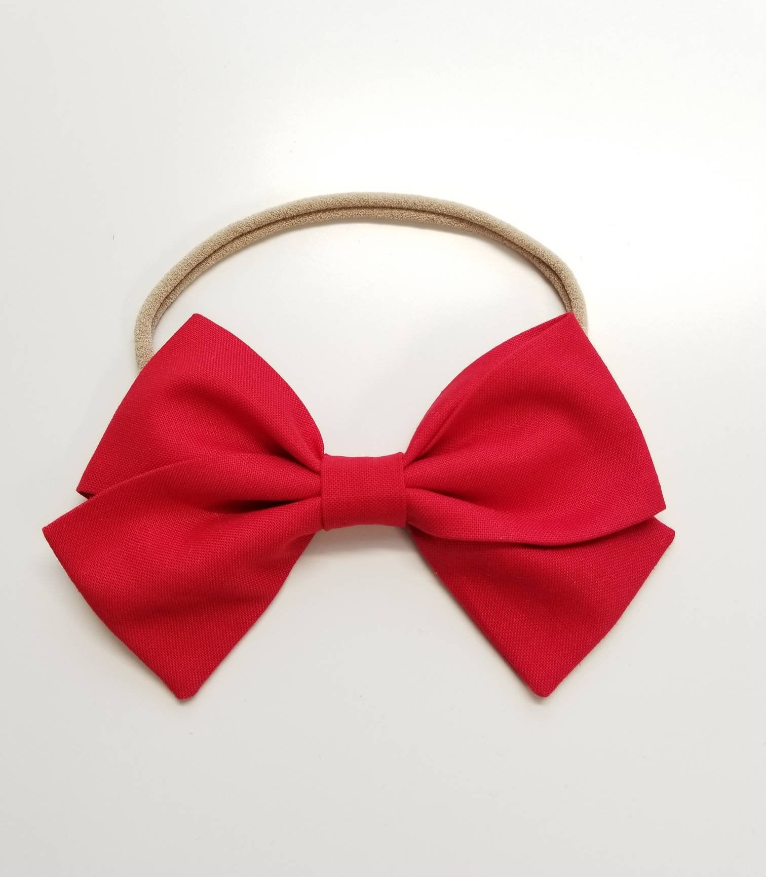 Bright Red, baby Bows, Nylon Headband, Hair Clips, Vanaguelite, cotton headbands, hair accessories.