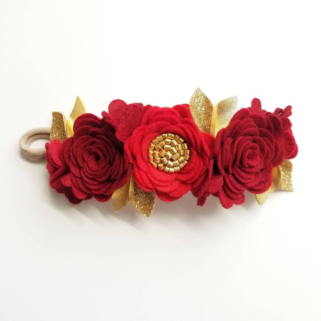 Red Flower Crown, Floral Headband, felt flower, hair accessories, baby headband, vanaguelite, baby accessories.