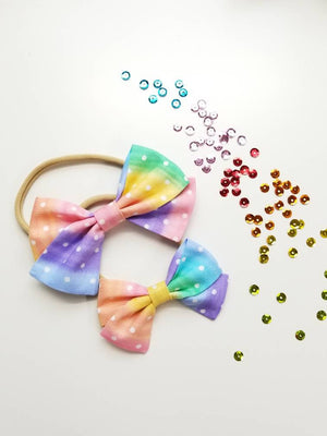 Baby Bows, Rainbow dots print, Nylon Headbands or Hair Clip