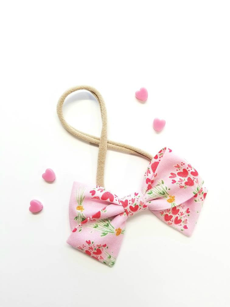 Baby Bows, Pink hearts, Nylon Headbands or Hair Clip, Love collection
