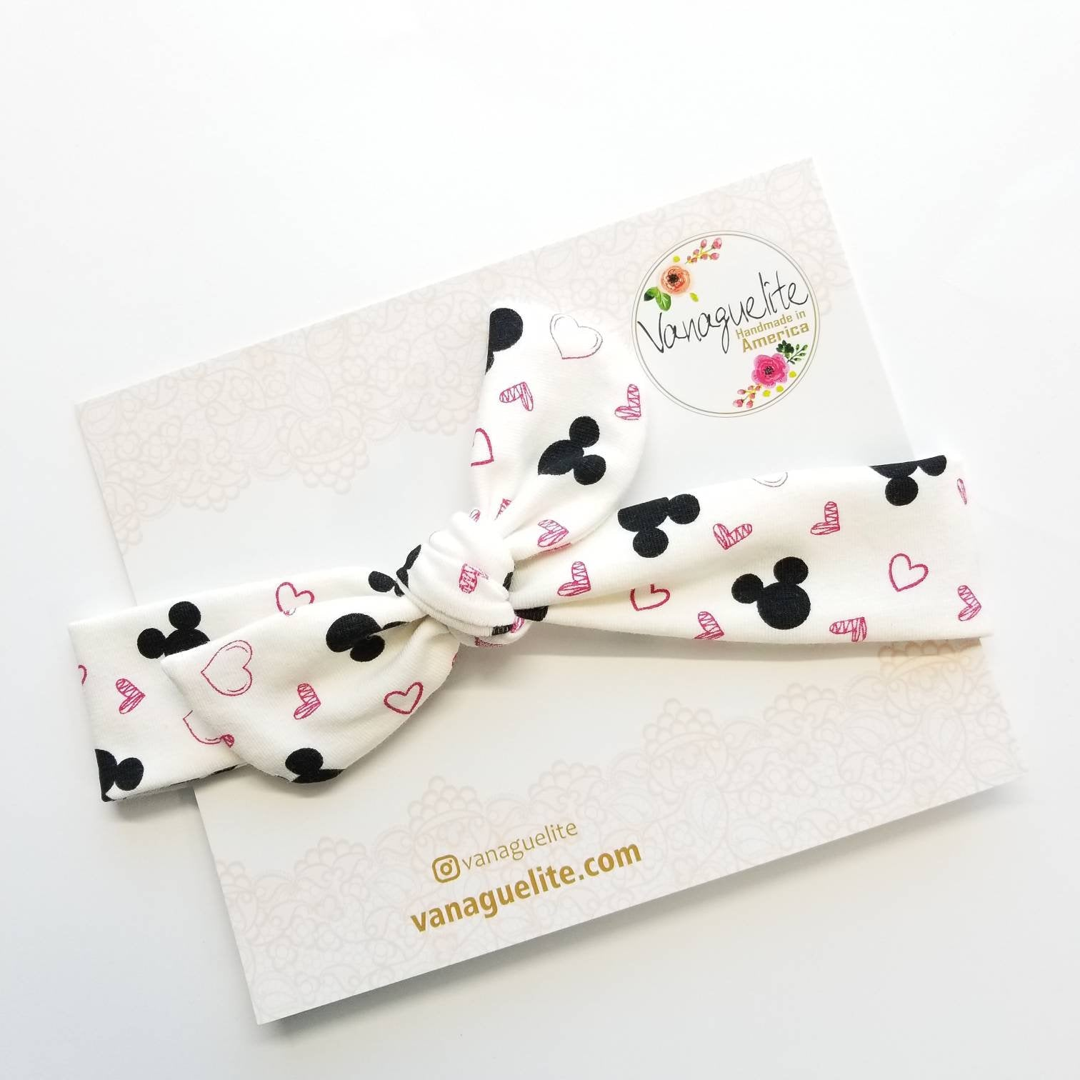 Baby headbands, knot bows, turbans, Baby bows, I love that Mouse print