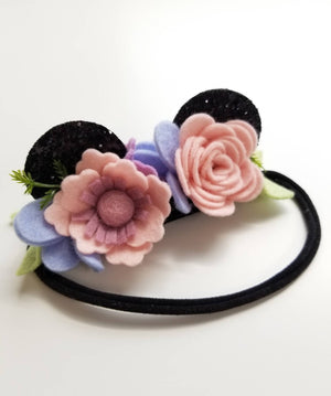 Baby headbands, mouse ears, floral mouse ears, nylon headband, baby bows, mini ears for babies