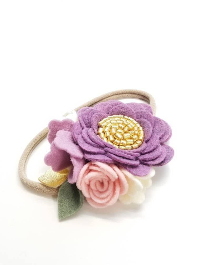 Custom Floral headband, flower crown, baby girl vanaguelite, felt flower, baby girl photography props, nylon headband one size fits all