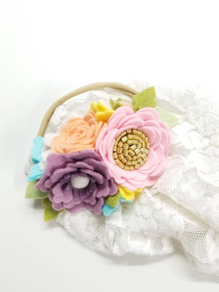 Flower Crown, Dainty Floral Headband, Rainbow pastel Colors, felt flowers, first birthday hair accessories, baby headband, vanaguelite
