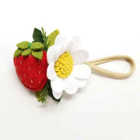 Strawberries Headband or alligator clip, baby hair accessories, Fruits headbands
