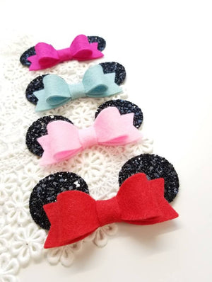 Baby mouse ears, Choose your Bow color, alligator clip or nylon headband, baby bows, 3 inches bow