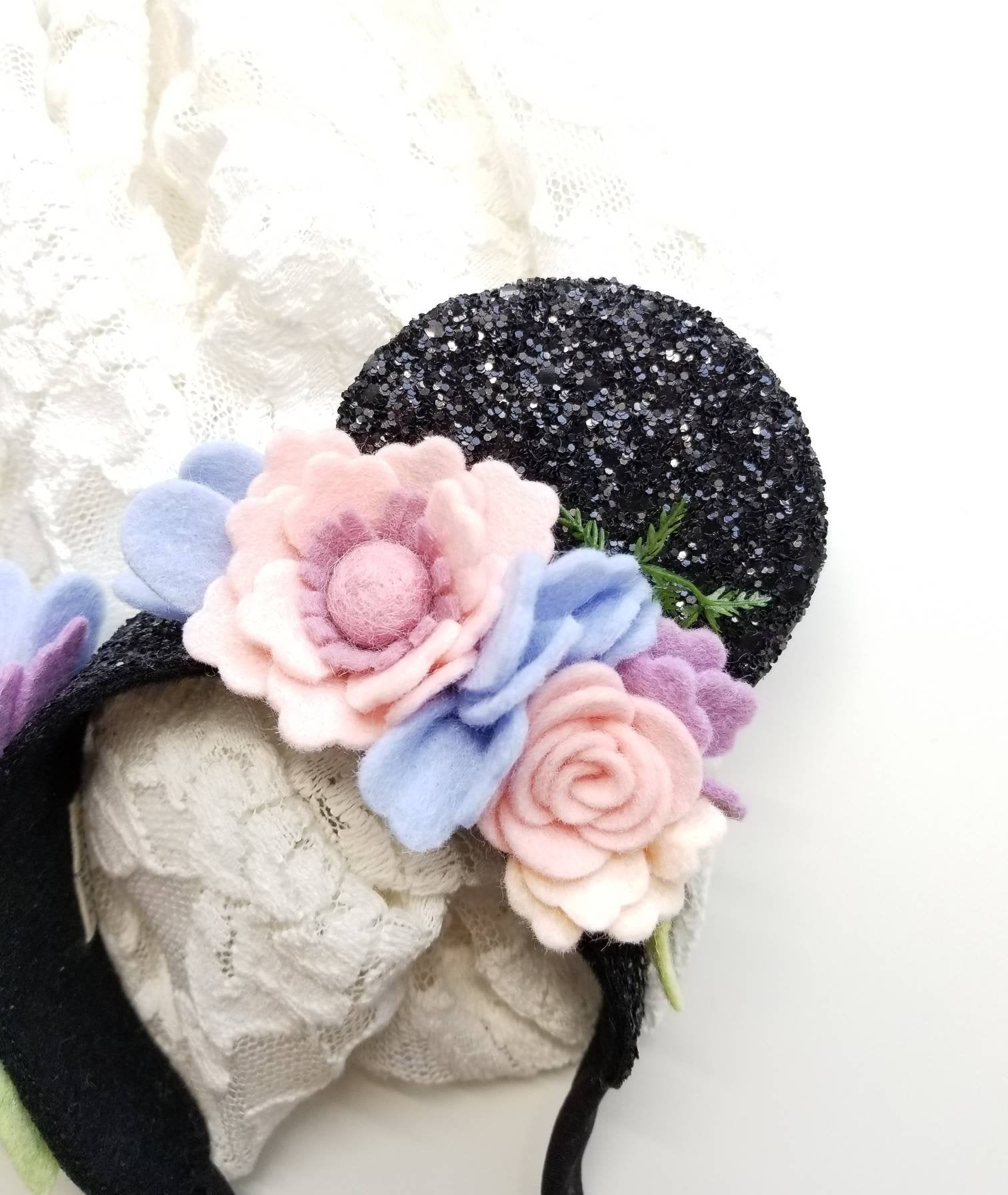 Mouse Ears floral Crown, Soft Base, floral mouse ears, baby headbands, black ears, sparkly faux leather, handmade wool felt flowers