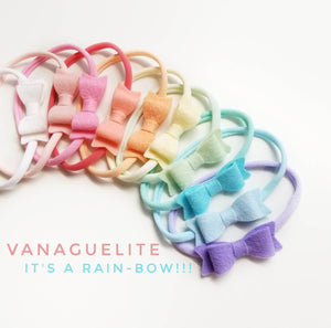 Baby Bows, Pastel Rainbow, colorful headbands, baby accessories, Set of 10 wool felt bows, vanaguelite, nylon headband