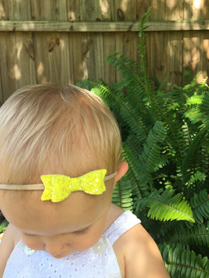 Baby Bows, Grapefruit set, newborn Mini Bows, set of 3, Baby headbands, nylon fits all, sparkly yellow, orange, grapefruit