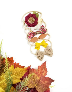 The Perfect Fall, Baby nylon headbands, Baby bows, floral headband, Maroon, Mustard, fall colors