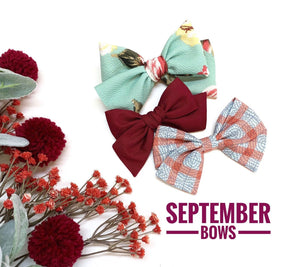 September Bows Set, Baby girl bows, Nylon Headbands or Hair Clips, Limited edition, vanaguelite, hair accessories.