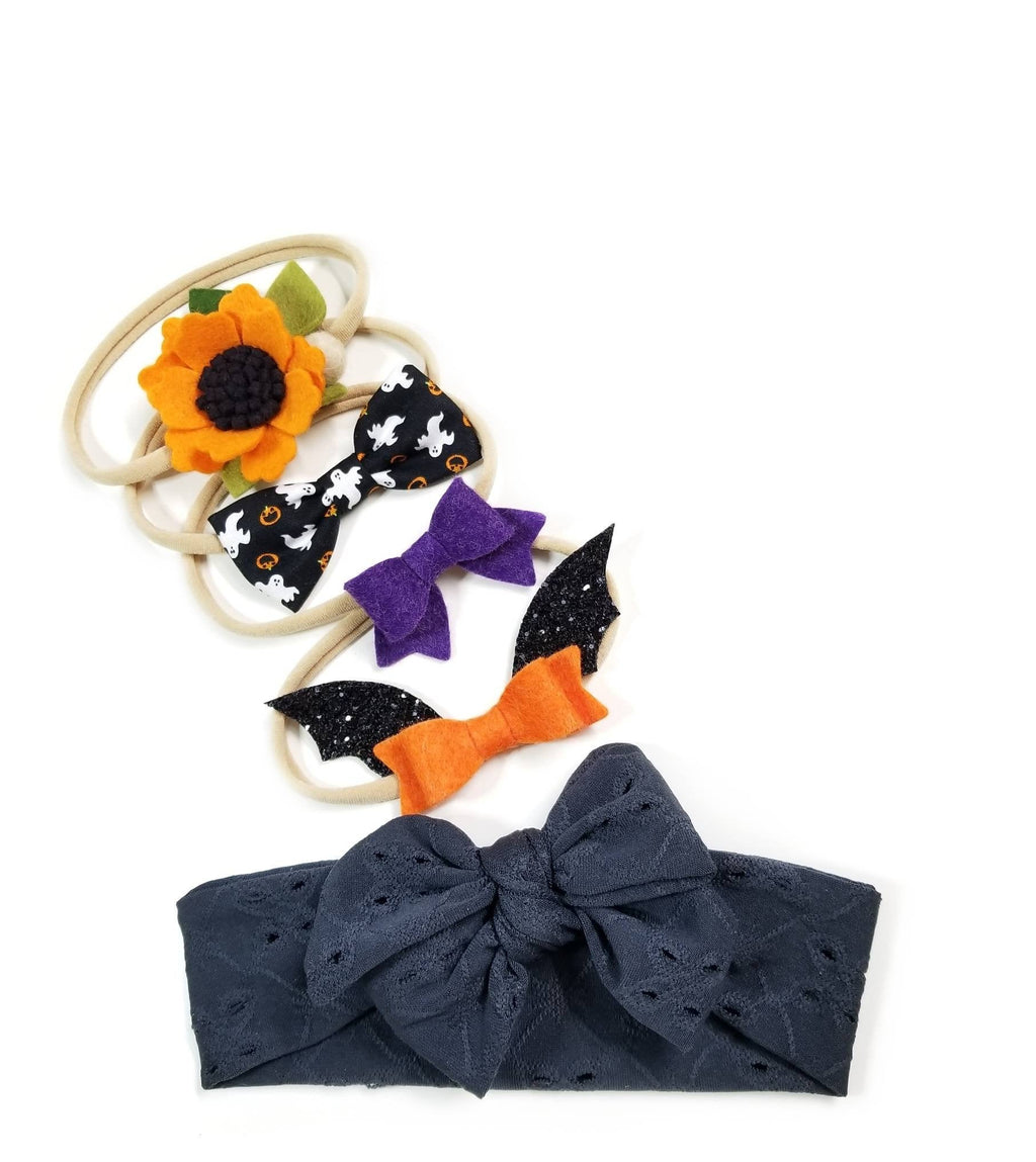 Not so Spooky Halloween Set, Baby nylon headbands, Baby bows, floral headband, Headwrap, Purple, Orange, gray, Bat