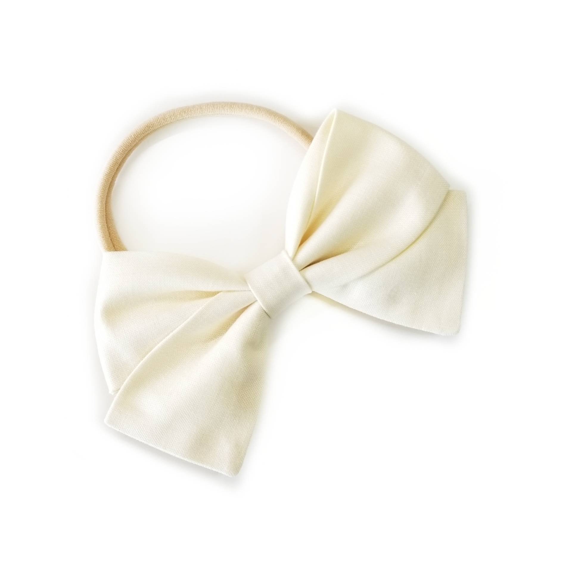 Solid Vanilla Cream, baby Bow, Nylon Headband, Hair Clip, infant bow, cotton fabric, toddler headband, alligator clip.