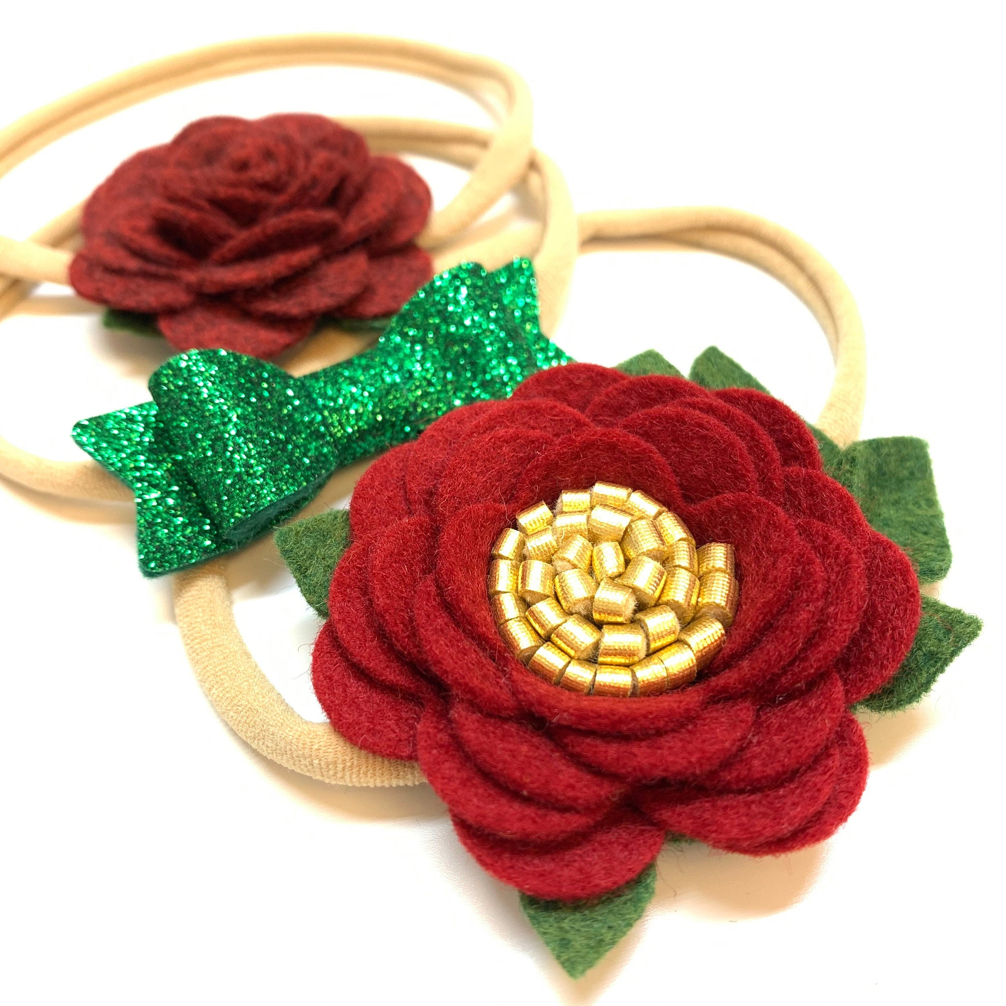 Deep red Mini Flowers, Trio Set, Christmas flower, baby headbands, hair accessories, vanaguelite, floral headbands, kelly green sparkly.