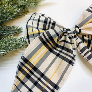 Sailor style plaid Bow, Christmas baby Bows, Ivory, black and gold, Nylon Headband, Hair Clips, Vanaguelite