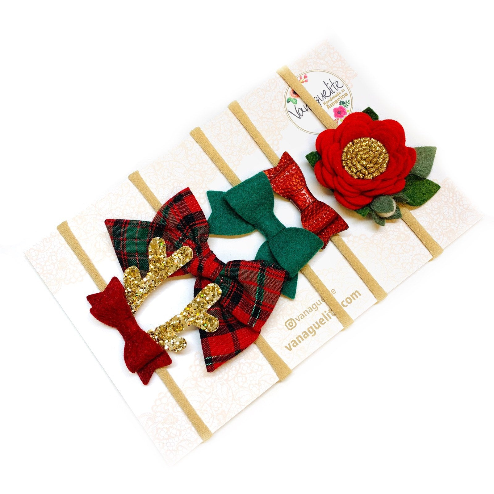 The Perfect Christmas set, Baby nylon headbands or alligator clips, Baby bows, floral headbands, baby Reindeer Antlers