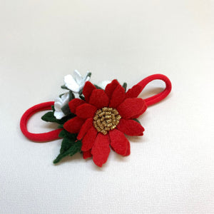 Christmas Floral Headband, wool felt flower, Poinsettia, headband or hair clip, vanaguelite
