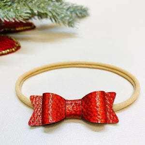 Red Bow, Christmas baby Bows, Soft faux leather Bow, Nylon Headband, Hair Clips, Vanaguelite