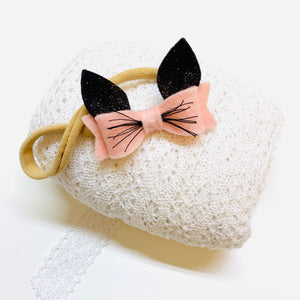 Mini kittens ears, baby bows, alligator clip or headband