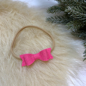Frosted pink mini Bow, 2 inches, nylon headband or alligator clip, sale