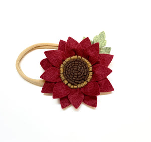 Burgundy Wine Sunflower Headband, wool felt flowers, baby girl hair accessories, baby headbands